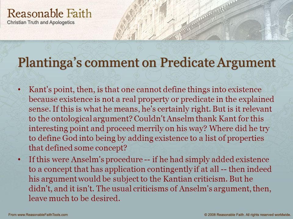 Plantinga's comment on Predicate Argument