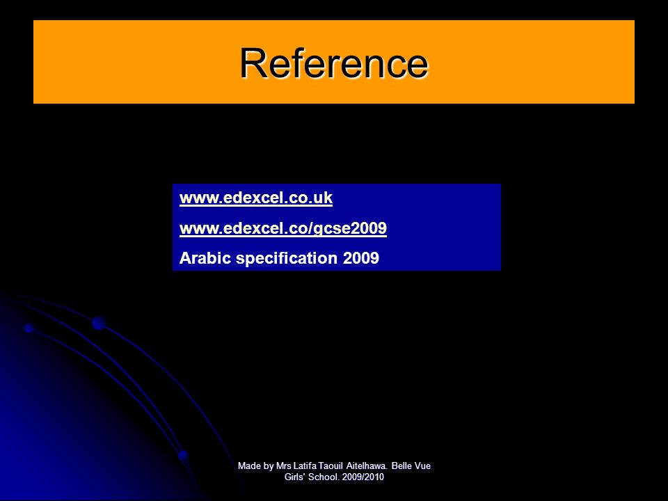 Reference www.edexcel.co.uk www.edexcel.co/gcse2009