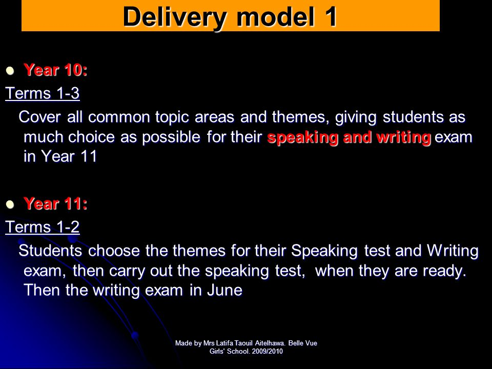 Delivery model 1 Year 10: Terms 1-3
