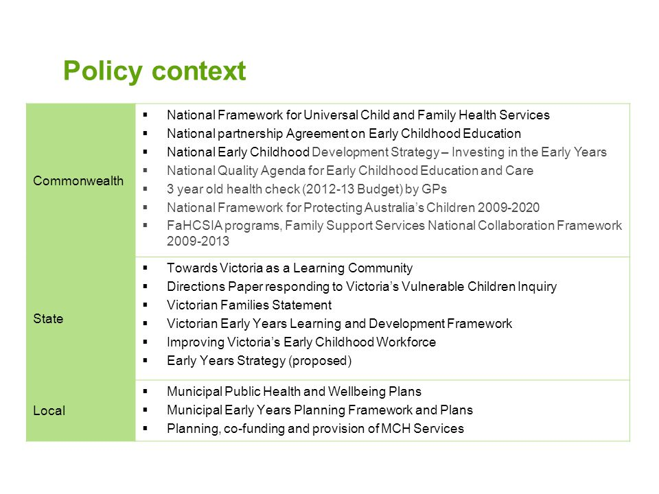 Policy context Commonwealth