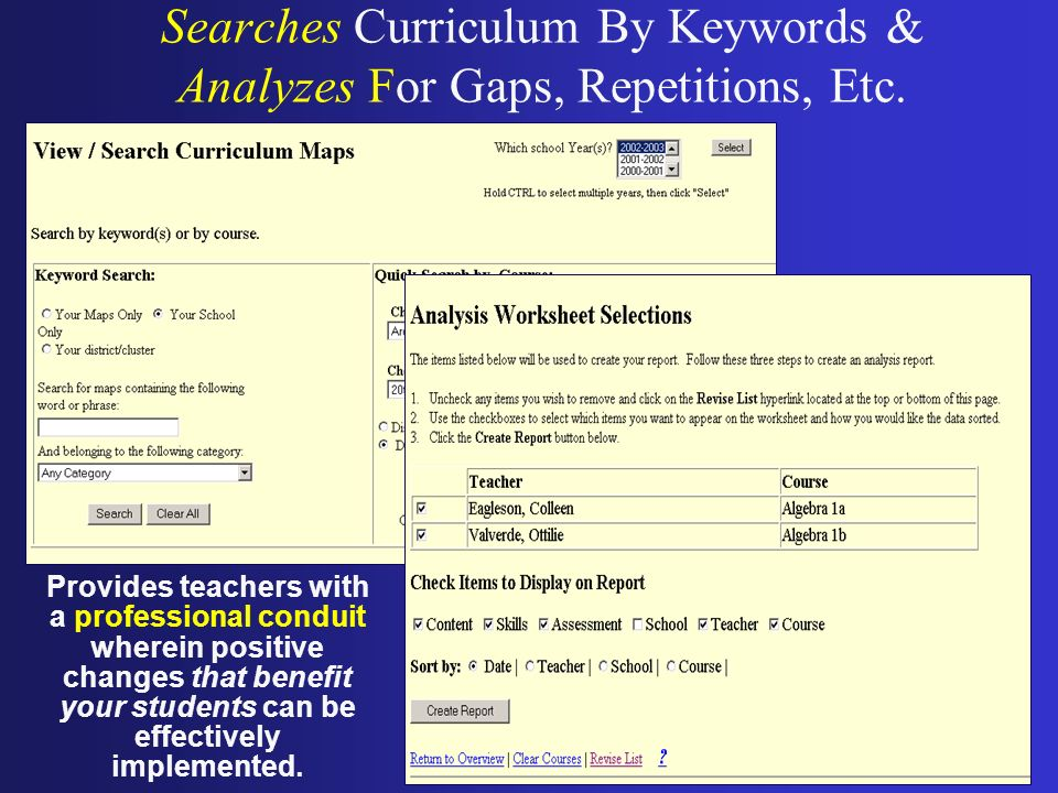 Searches Curriculum By Keywords & Analyzes For Gaps, Repetitions, Etc.