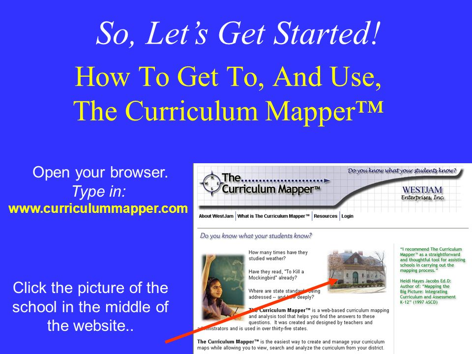 How To Get To, And Use, The Curriculum Mapper™