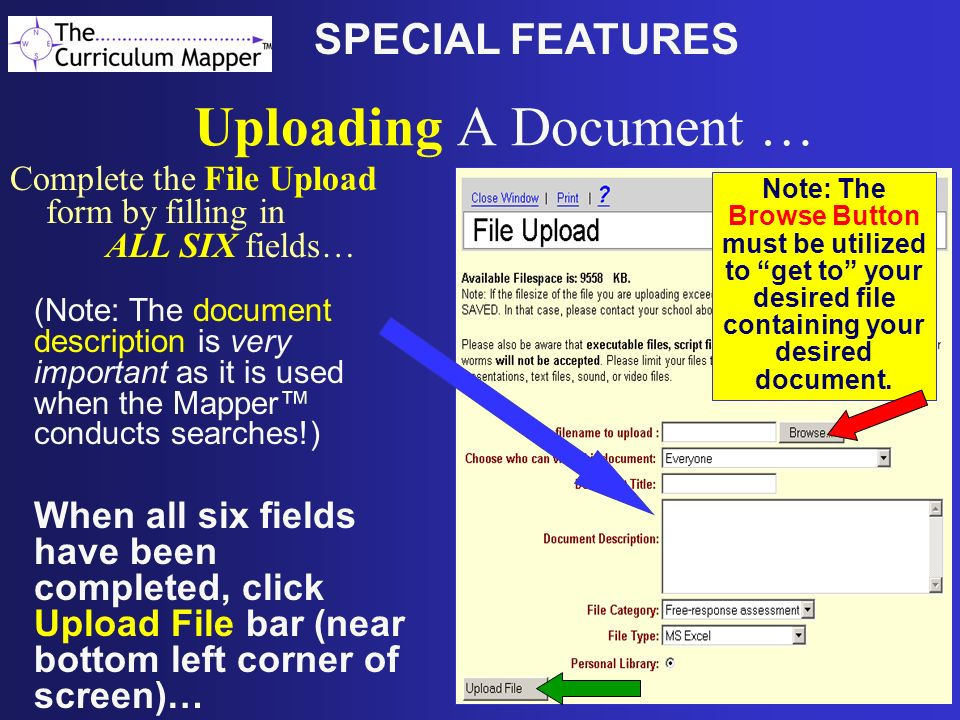 Uploading A Document … SPECIAL FEATURES