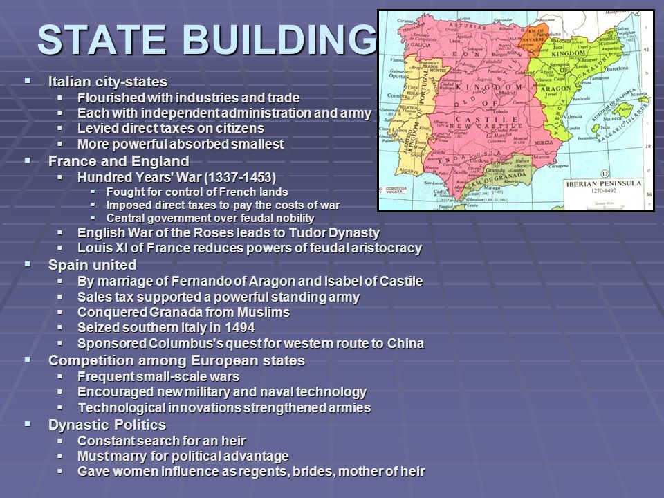 STATE BUILDING Italian city-states France and England Spain united