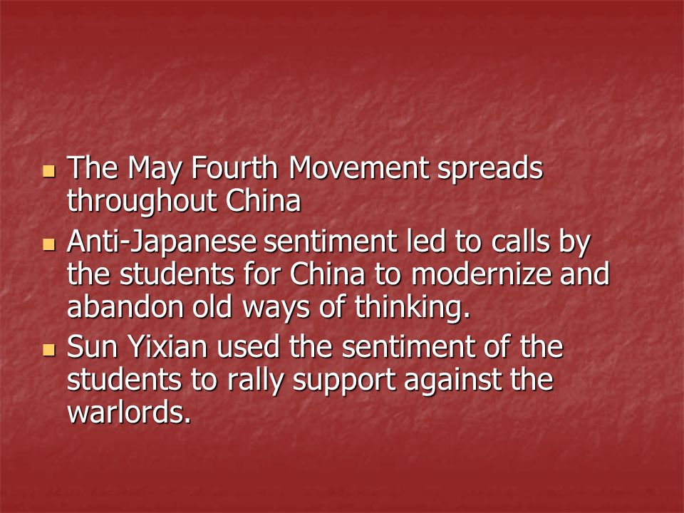 The May Fourth Movement spreads throughout China