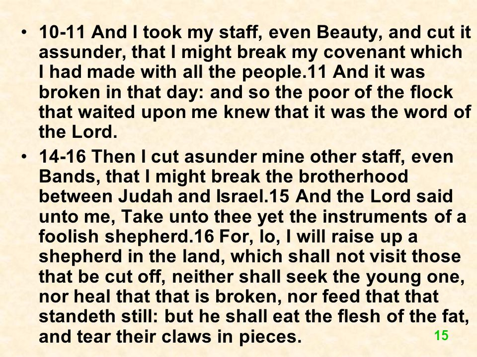 10-11 And I took my staff, even Beauty, and cut it assunder, that I might break my covenant which I had made with all the people.11 And it was broken in that day: and so the poor of the flock that waited upon me knew that it was the word of the Lord.
