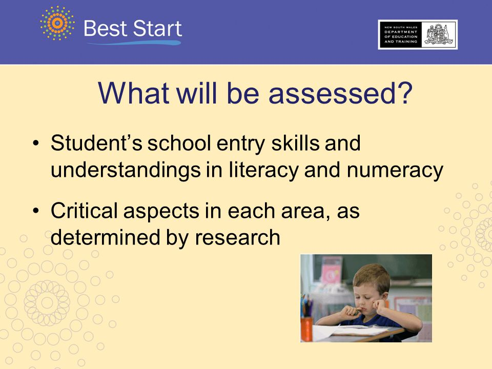 What will be assessed Student's school entry skills and understandings in literacy and numeracy.