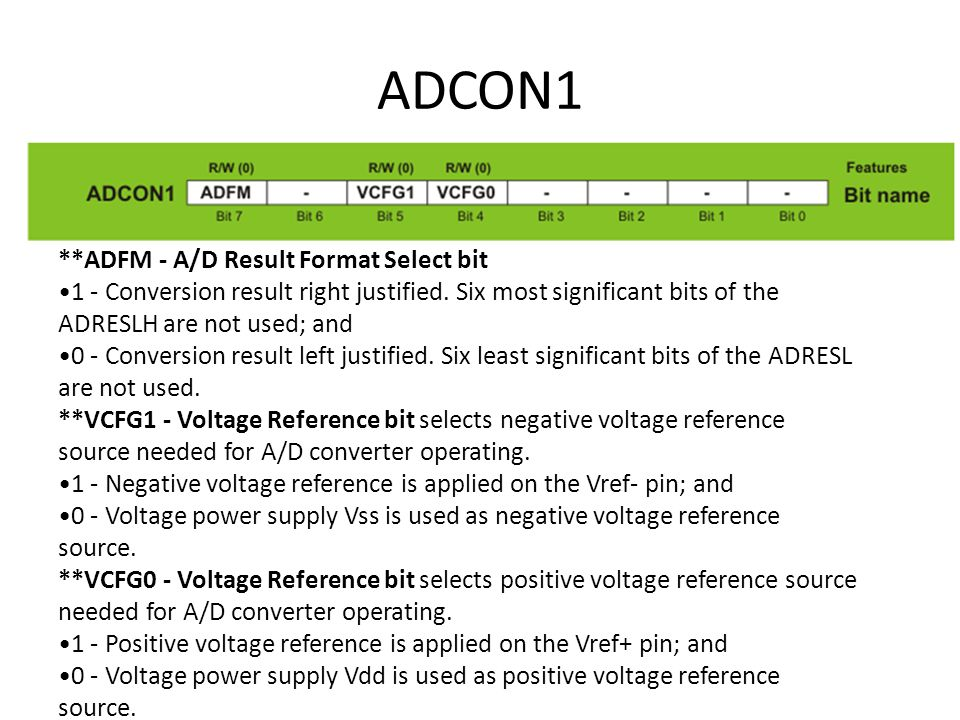 ADCON1 **ADFM - A/D Result Format Select bit