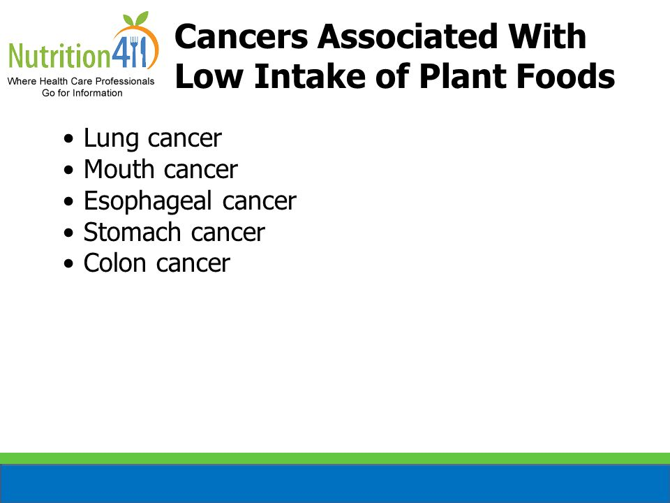 Cancers Associated With Low Intake of Plant Foods