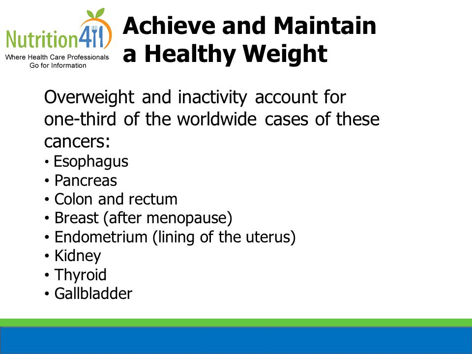 Achieve and Maintain a Healthy Weight