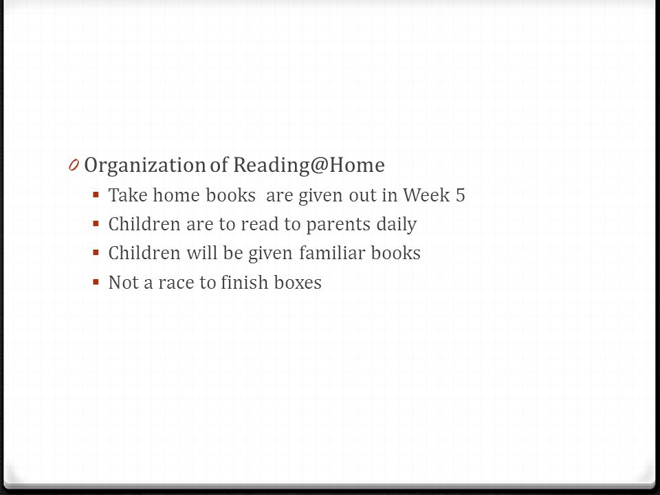 Organization of Reading@Home