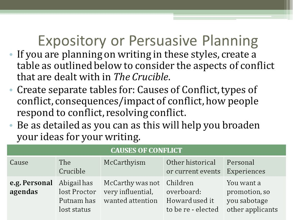 Expository or Persuasive Planning