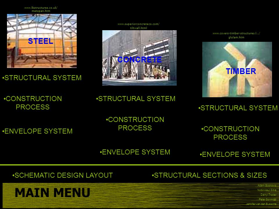 MAIN MENU STEEL CONCRETE TIMBER STRUCTURAL SYSTEM CONSTRUCTION PROCESS