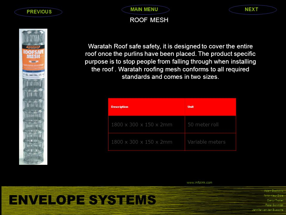 ENVELOPE SYSTEMS ROOF MESH
