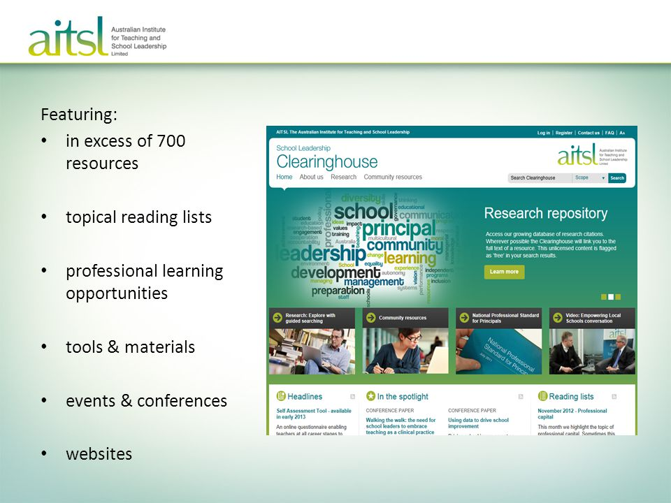 Featuring: in excess of 700 resources. topical reading lists. professional learning opportunities.