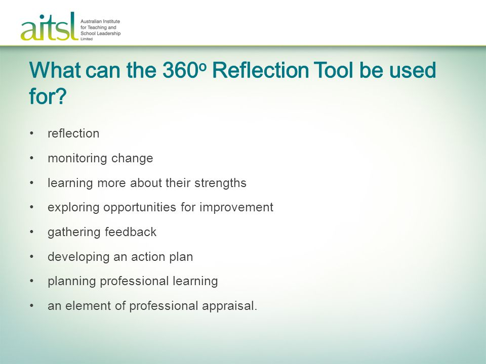What can the 360o Reflection Tool be used for