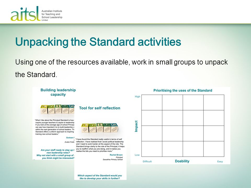 Unpacking the Standard activities