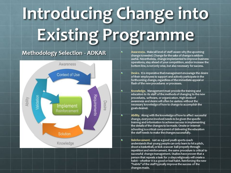 Introducing Change into Existing Programme