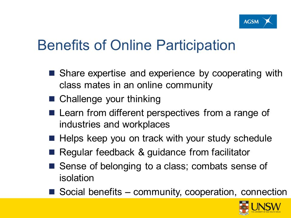 Benefits of Online Participation