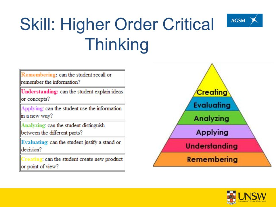 Skill: Higher Order Critical Thinking