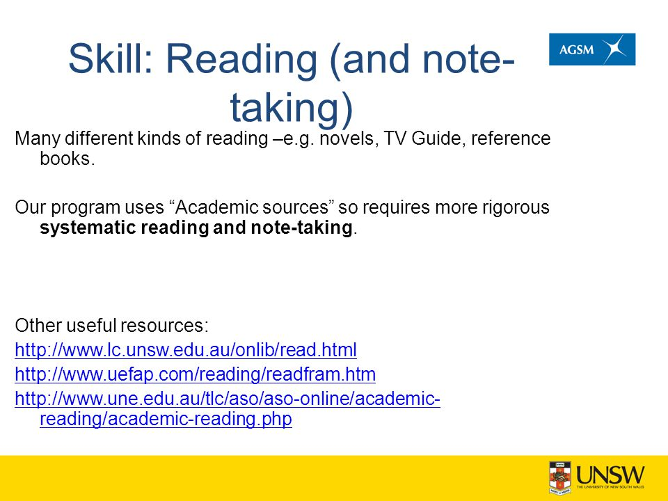 Skill: Reading (and note-taking)
