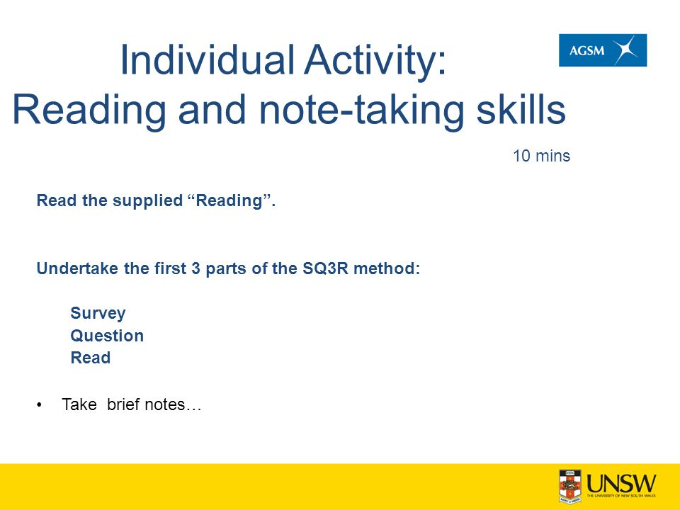 Individual Activity: Reading and note-taking skills