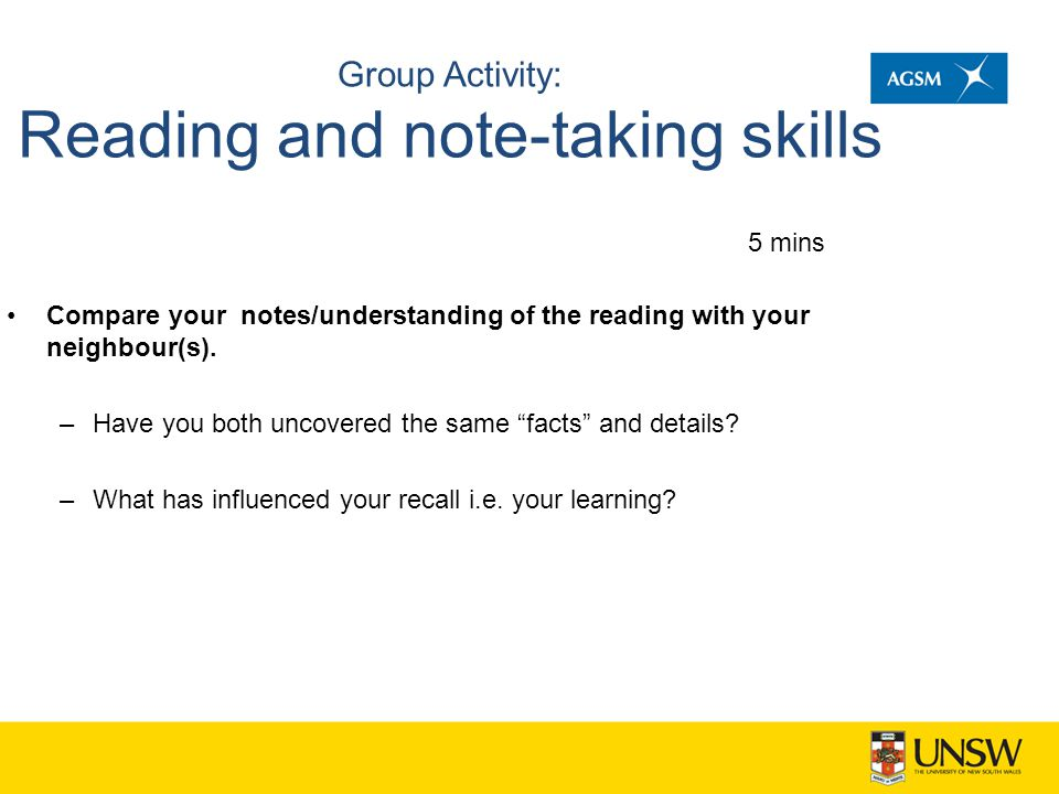 Group Activity: Reading and note-taking skills