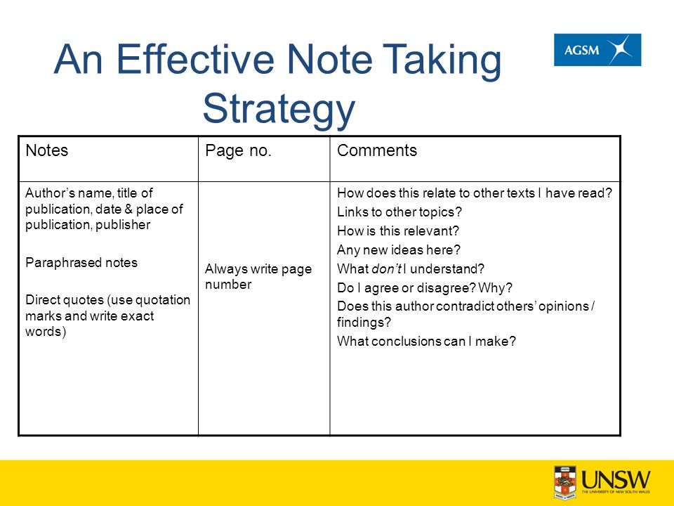 An Effective Note Taking Strategy