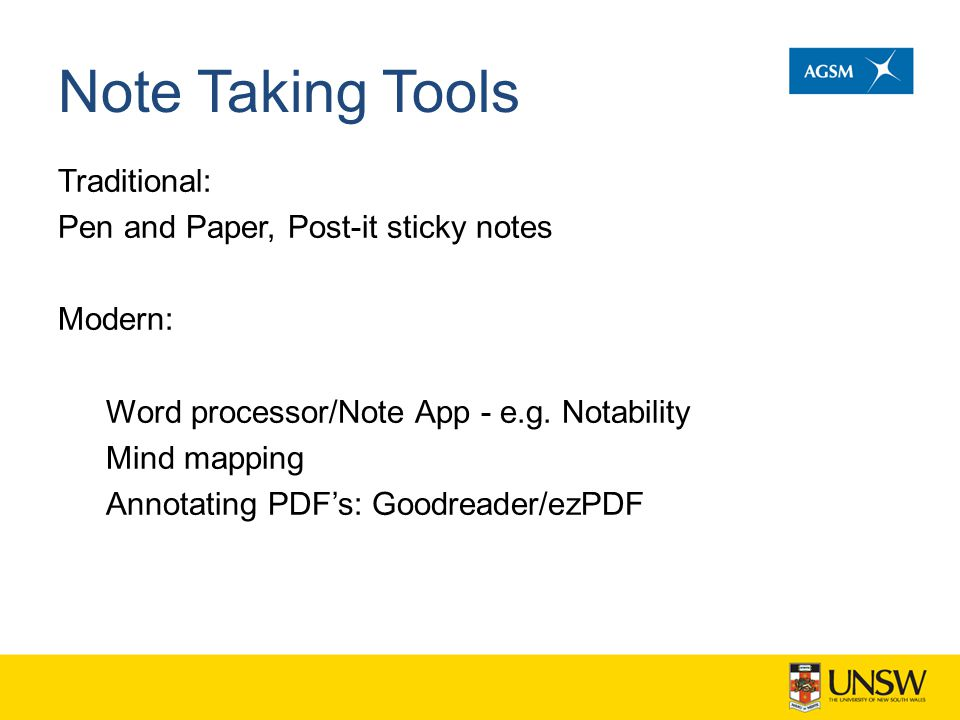 Note Taking Tools