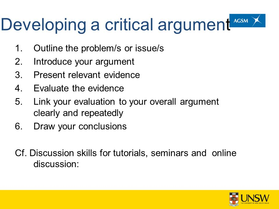 Developing a critical argument