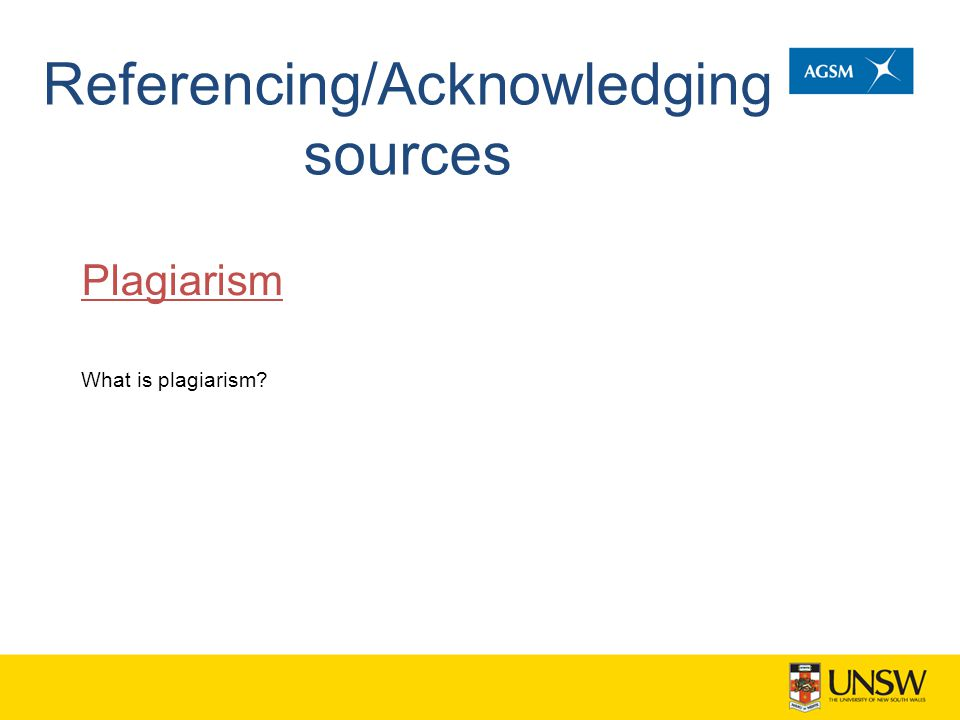 Referencing/Acknowledging sources