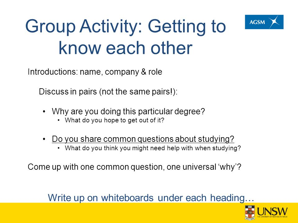 Group Activity: Getting to know each other