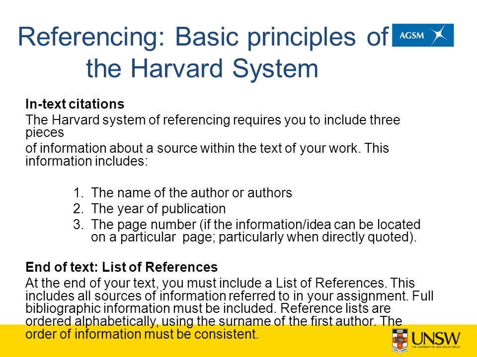 Referencing: Basic principles of the Harvard System