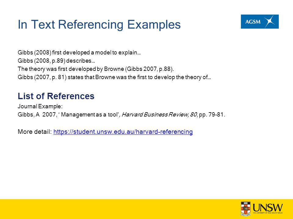 In Text Referencing Examples