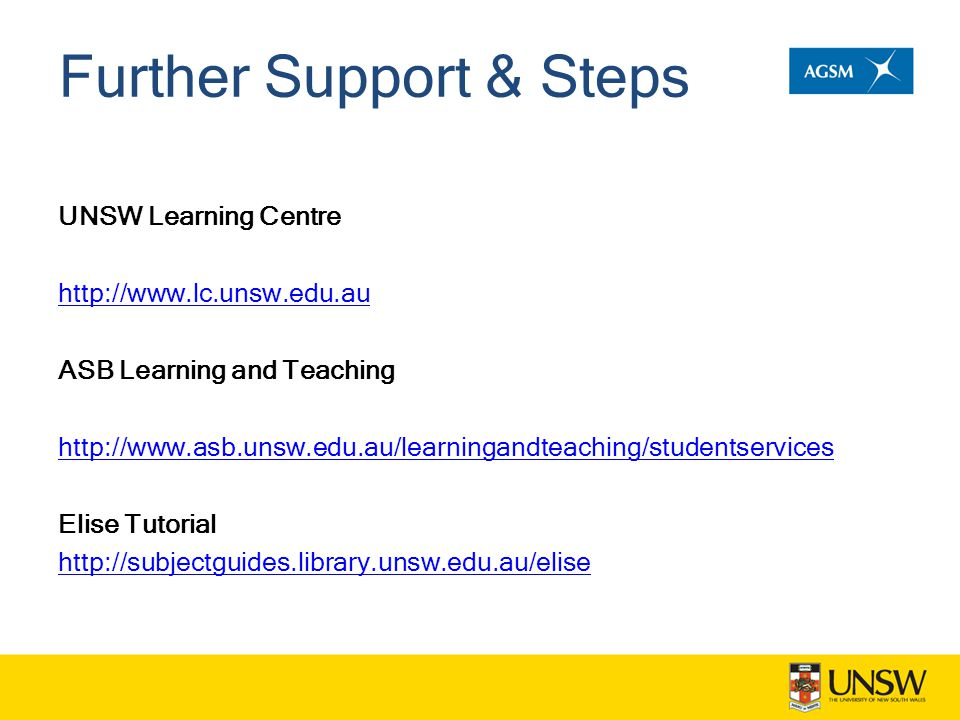 Further Support & Steps