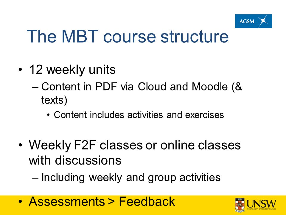 The MBT course structure