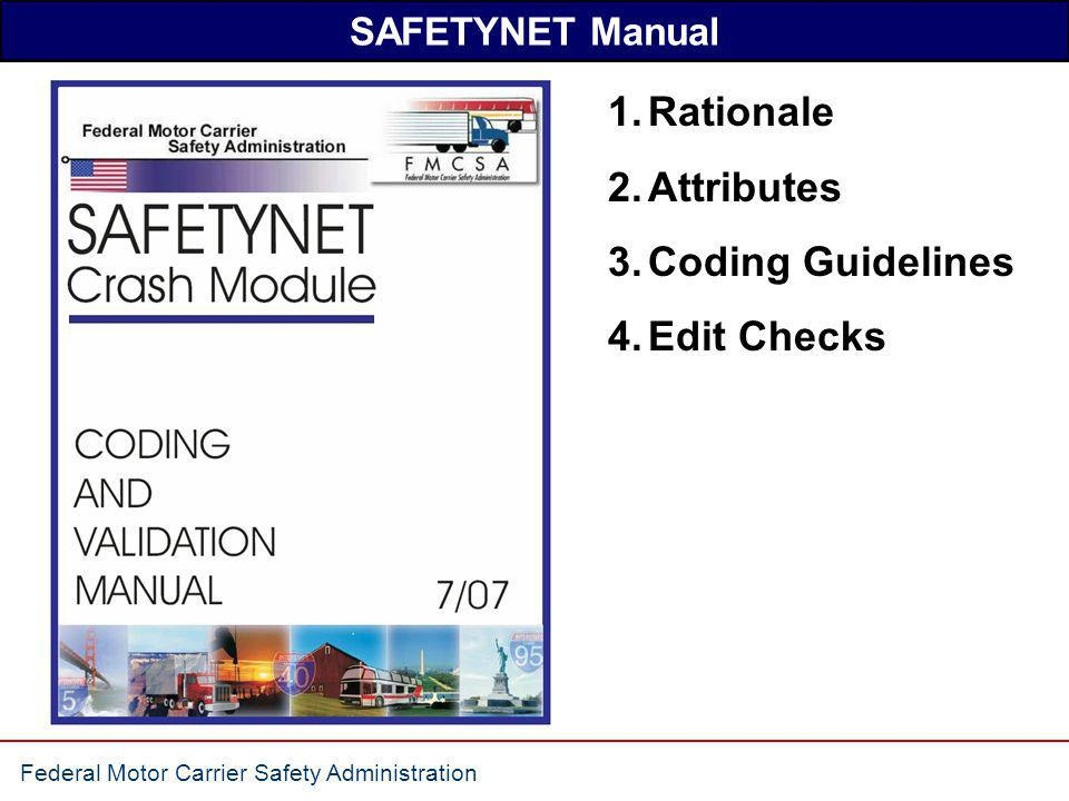 SAFETYNET Manual Rationale Attributes Coding Guidelines Edit Checks