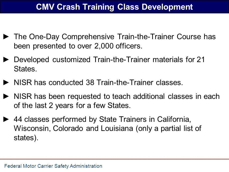 CMV Crash Training Class Development