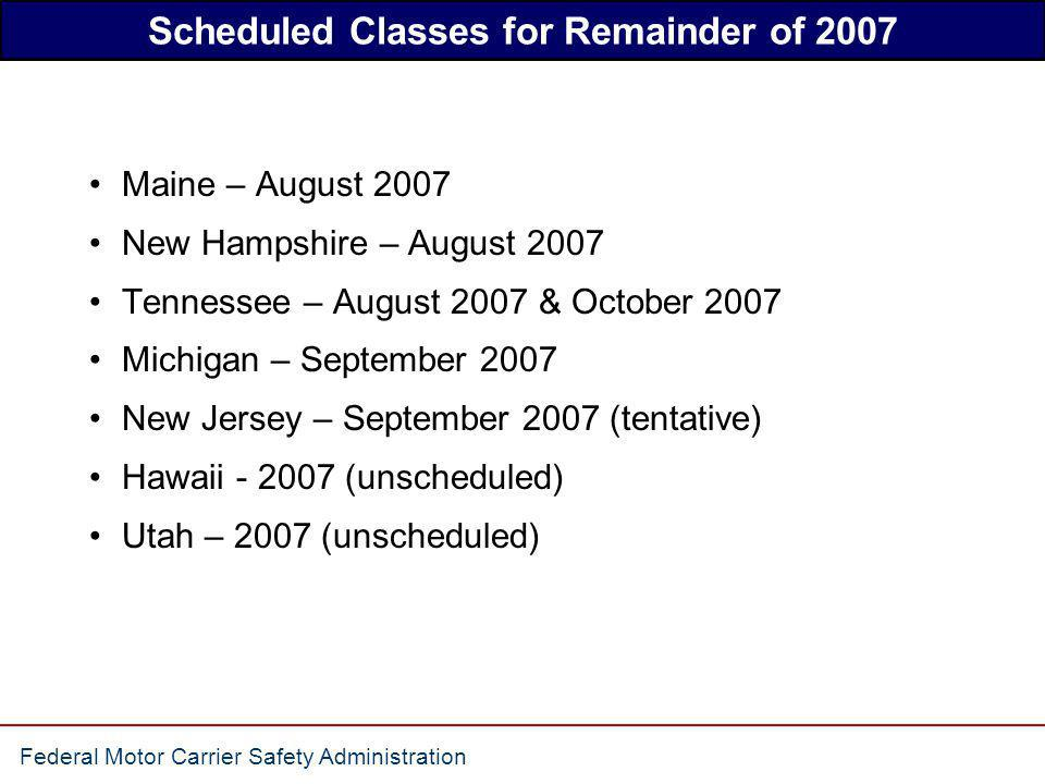 Scheduled Classes for Remainder of 2007