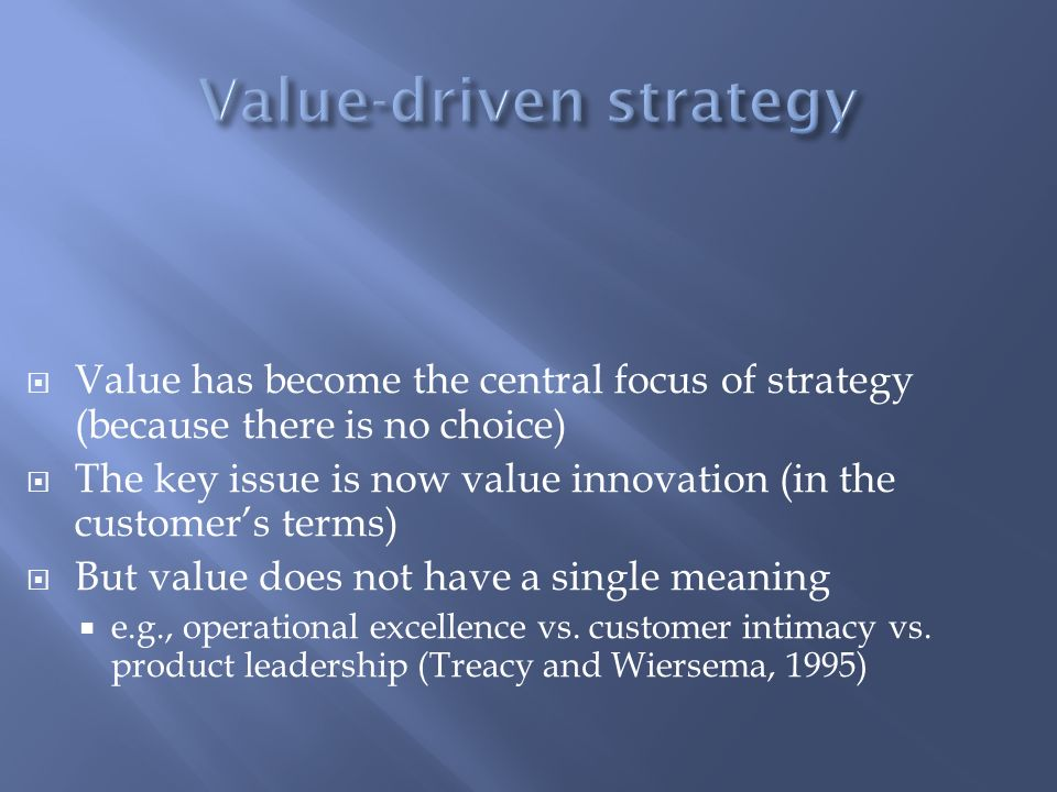 Value-driven strategy