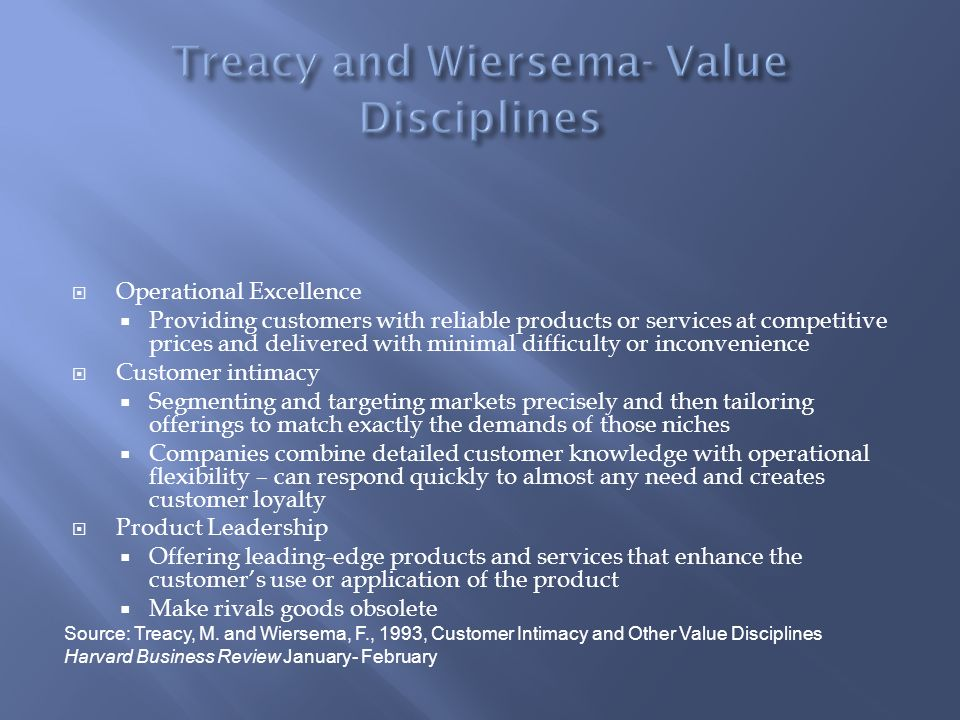 Treacy and Wiersema- Value Disciplines
