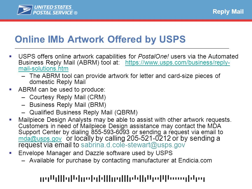 Migrating to the intelligent mail barcode ppt download online imb artwork offered by usps reheart Images
