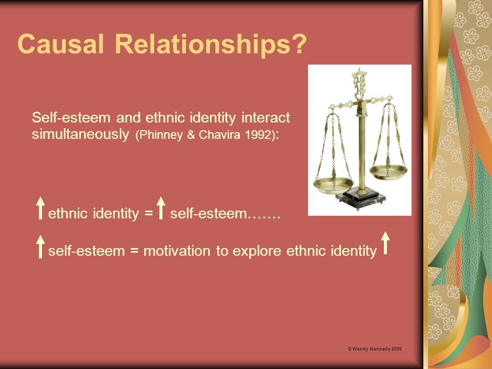 Causal Relationships Self-esteem and ethnic identity interact