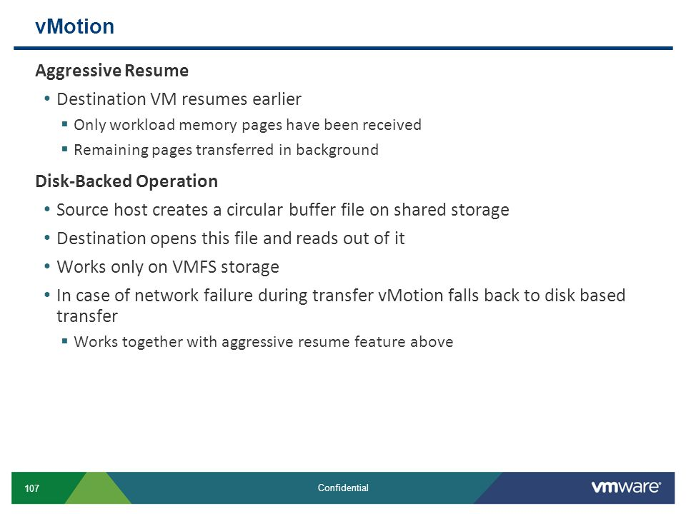 vMotion Aggressive Resume Destination VM resumes earlier