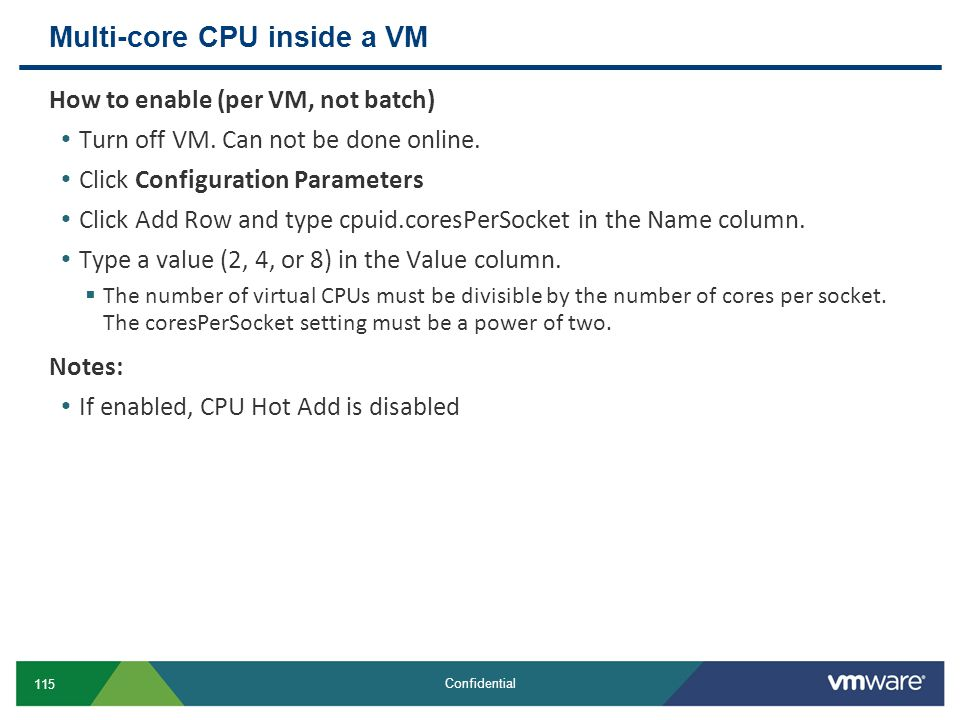 Multi-core CPU inside a VM