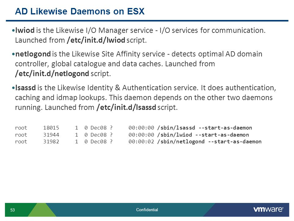 AD Likewise Daemons on ESX