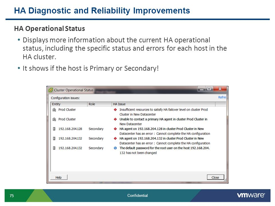 HA Diagnostic and Reliability Improvements