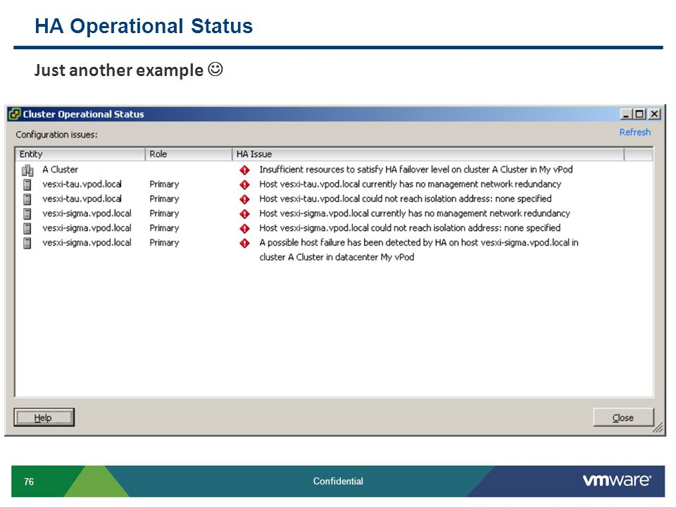 HA Operational Status Just another example 