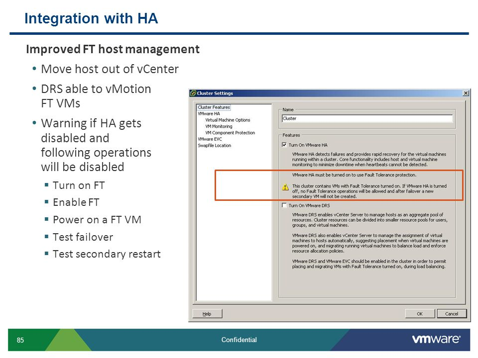 Integration with HA Improved FT host management