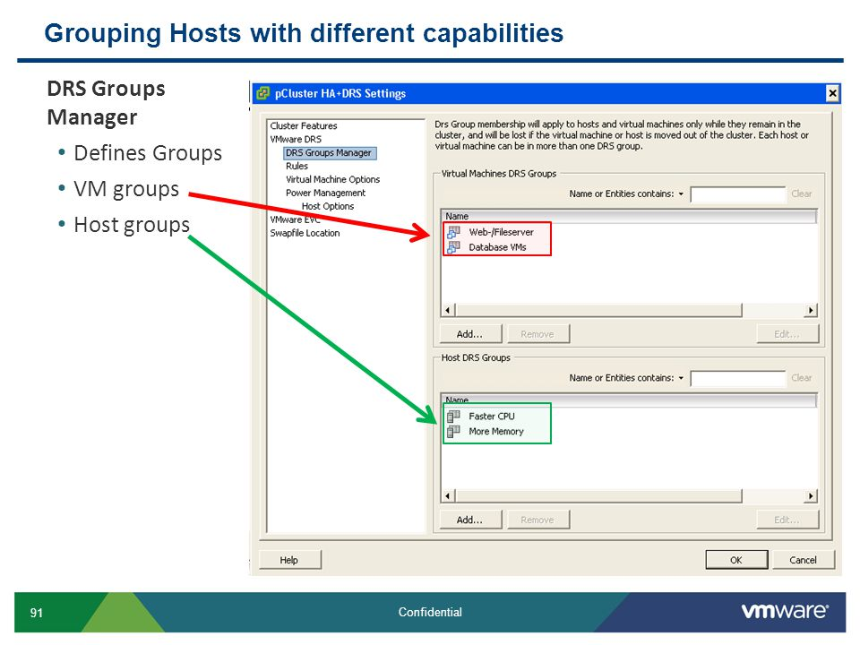 Grouping Hosts with different capabilities
